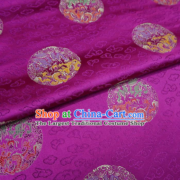 Asian Chinese Classical Dragons Design Pattern Rosy Brocade Traditional Cheongsam Satin Fabric Tang Suit Silk Material