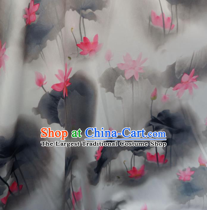 Asian Chinese Ink Painting Red Lotus Brocade Traditional Cheongsam Satin Fabric Tang Suit Silk Material