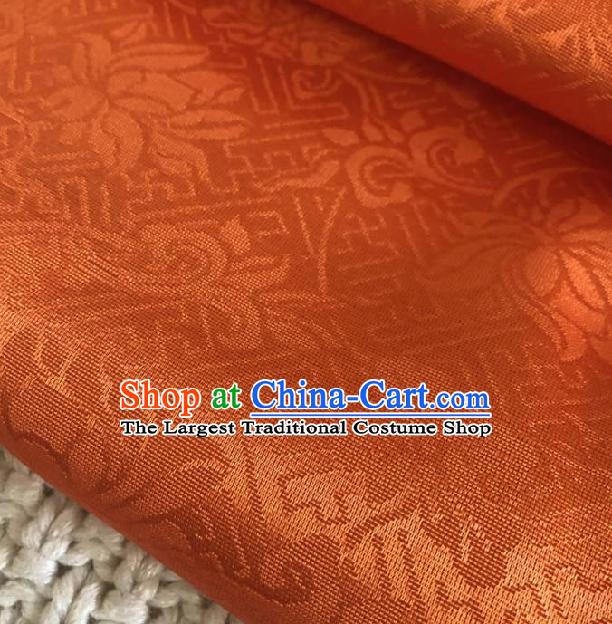 Asian Chinese Classical Scroll Design Pattern Orange Brocade Traditional Cheongsam Satin Fabric Tang Suit Silk Material
