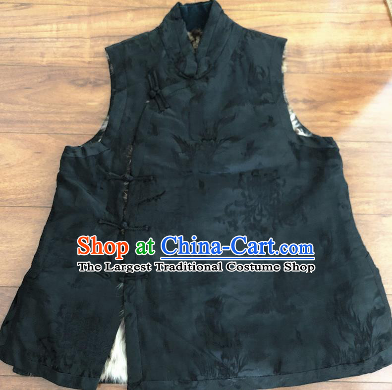 Chinese Traditional Costume Waistcoat National Black Cotton Padded Vest for Women