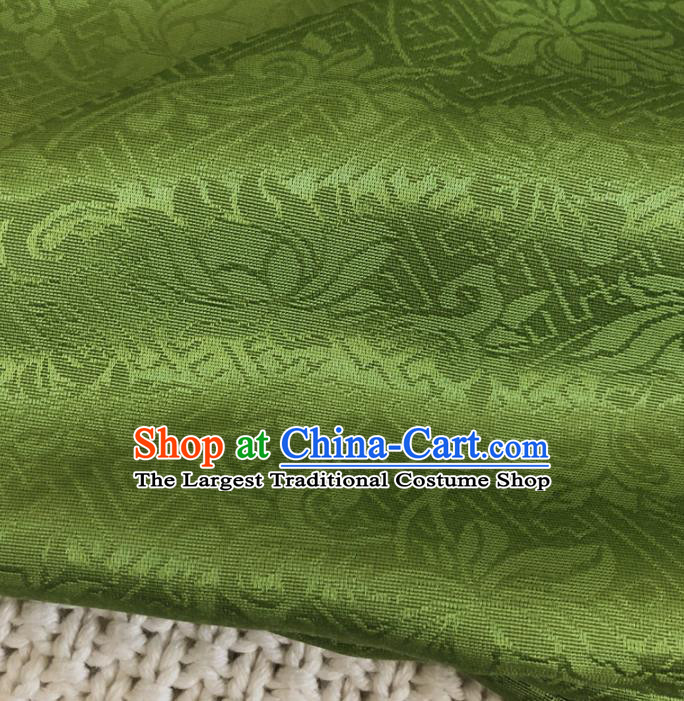 Asian Chinese Classical Scroll Design Pattern Green Brocade Traditional Cheongsam Satin Fabric Tang Suit Silk Material