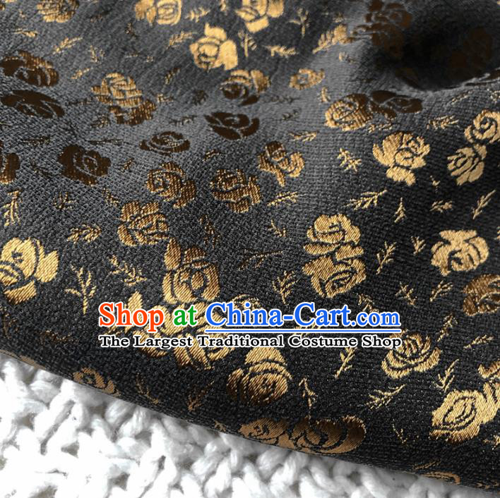 Asian Chinese Classical Roses Design Pattern Black Brocade Traditional Cheongsam Satin Fabric Tang Suit Silk Material