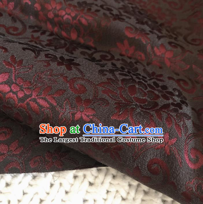Asian Chinese Classical Flowers Design Pattern Black Brocade Traditional Cheongsam Satin Fabric Tang Suit Silk Material