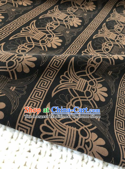 Asian Chinese Classical Design Pattern Black Brocade Traditional Cheongsam Satin Fabric Tang Suit Silk Material