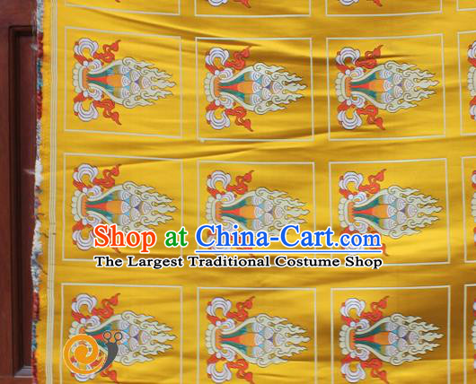 Asian Chinese Classical Design Pattern Yellow Nanjing Brocade Traditional Tibetan Robe Satin Religion Fabric Silk Material