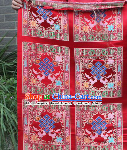 Asian Chinese Classical Buddhism Lucky Pattern Red Nanjing Brocade Traditional Tibetan Robe Satin Fabric Silk Material