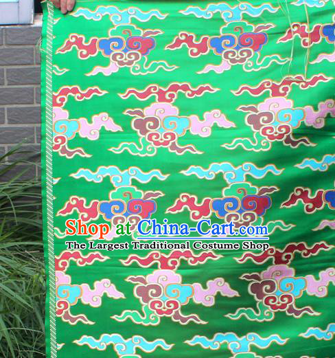 Asian Chinese Classical Buddhism Clouds Pattern Green Nanjing Brocade Traditional Tibetan Robe Satin Fabric Silk Material