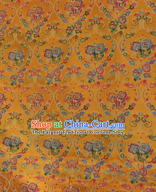 Asian Chinese Classical Flowers Vase Pattern Yellow Nanjing Brocade Traditional Tibetan Robe Satin Fabric Silk Material