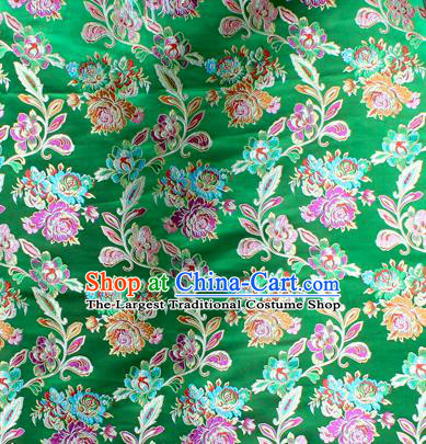 Asian Chinese Classical Peony Flowers Pattern Green Nanjing Brocade Traditional Tibetan Robe Satin Fabric Silk Material