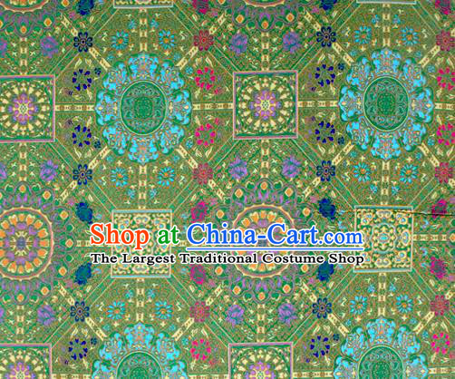 Asian Chinese Classical Buddhism Lotus Pattern Green Nanjing Brocade Traditional Tibetan Robe Satin Fabric Silk Material