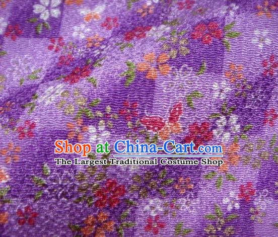 Asian Traditional Classical Butterfly Flowers Pattern Purple Tapestry Satin Brocade Fabric Japanese Kimono Silk Material