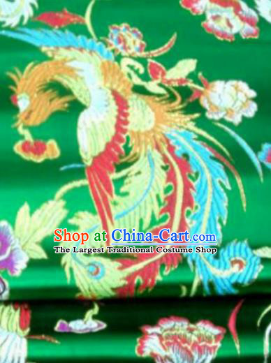 Asian Chinese Classical Phoenix Peony Pattern Green Brocade Traditional Tibetan Robe Satin Fabric Silk Material