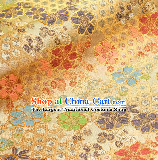 Asian Traditional Classical Sakura Pattern Nishijin Golden Brocade Fabric Japanese Kimono Satin Silk Material