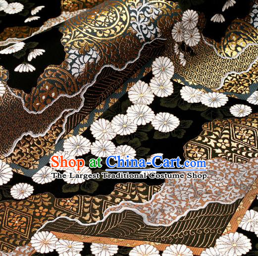 Asian Traditional Classical Daisy Pattern Nishijin Black Brocade Fabric Japanese Kimono Satin Silk Material