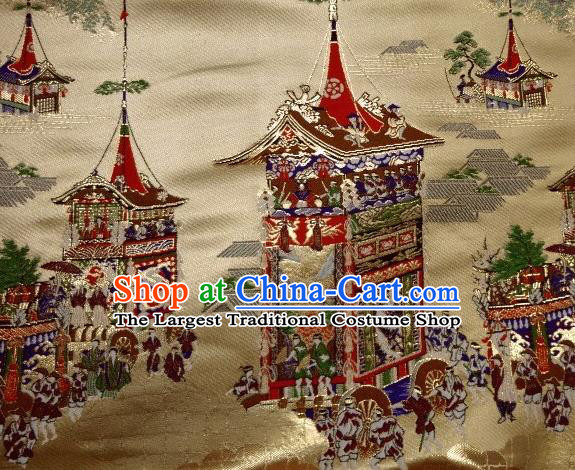 Asian Traditional Classical Palace Pattern Golden Tapestry Satin Nishijin Brocade Fabric Japanese Kimono Silk Material