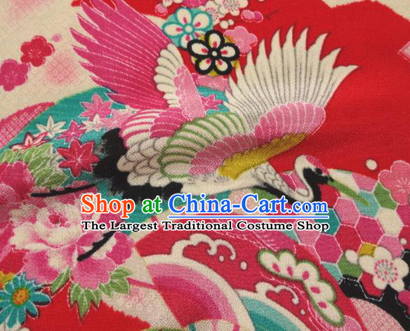 Asian Traditional Classical Crane Pattern Red Tapestry Satin Nishijin Brocade Fabric Japanese Kimono Silk Material