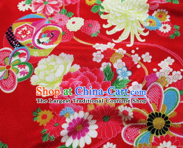 Asian Traditional Classical Chrysanthemum Fan Pattern Red Tapestry Satin Brocade Fabric Japanese Kimono Silk Material