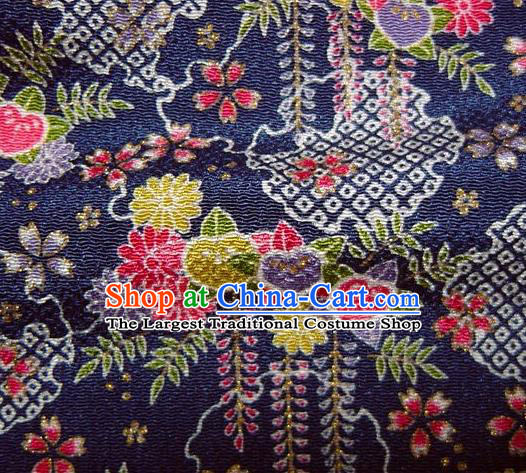 Asian Traditional Classical Chrysanthemum Pattern Navy Brocade Tapestry Satin Fabric Japanese Kimono Silk Material