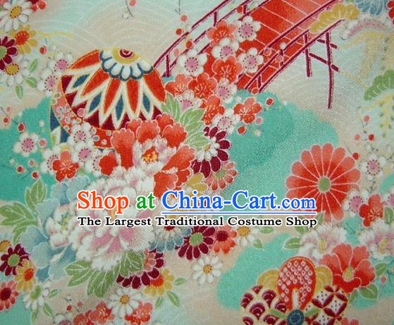 Asian Traditional Classical Peony Pattern Green Brocade Tapestry Satin Fabric Japanese Kimono Silk Material