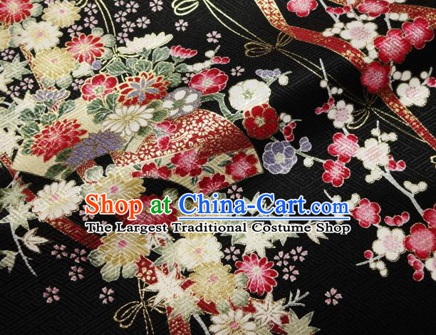 Asian Traditional Kimono Classical Sakura Pattern Black Nishijin Brocade Tapestry Satin Fabric Japanese Silk Material