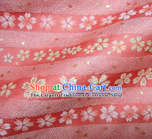 Asian Traditional Damask Classical Sakura Pattern Pink Brocade Fabric Japanese Kimono Tapestry Satin Silk Material