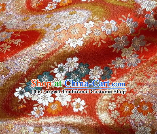 Asian Traditional Baldachin Classical Flowers Pattern Light Red Brocade Fabric Japanese Kimono Tapestry Satin Silk Material