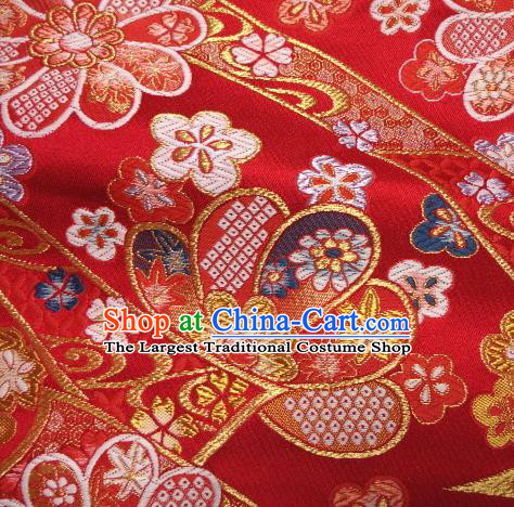 Asian Traditional Baldachin Classical Sakura Maple Pattern Red Brocade Fabric Japanese Kimono Tapestry Satin Silk Material