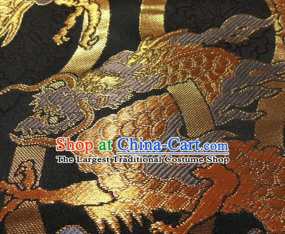 Asian Traditional Baldachin Classical Golden Dragon Pattern Brocade Fabric Japanese Kimono Tapestry Satin Silk Material