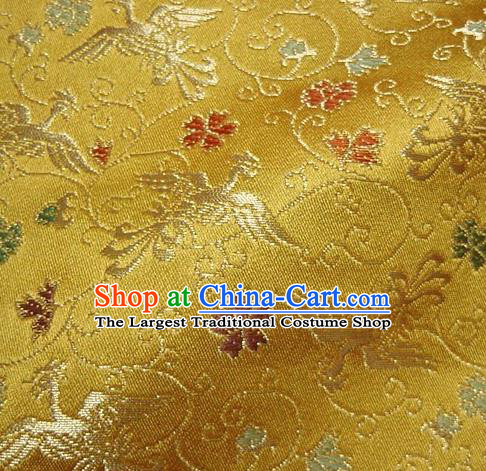 Asian Traditional Baldachin Classical Phoenix Pattern Golden Brocade Fabric Japanese Kimono Tapestry Satin Silk Material
