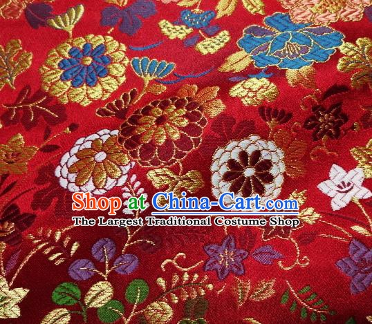 Asian Traditional Classical Flowers Pattern Damask Red Brocade Fabric Japanese Kimono Tapestry Satin Silk Material