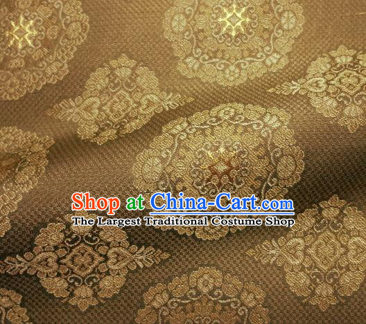 Asian Traditional Kimono Classical Pattern Brown Damask Brocade Fabric Japanese Kyoto Tapestry Satin Silk Material