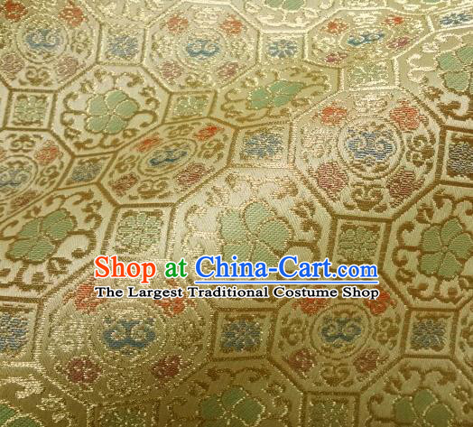 Asian Traditional Kyoto Kimono Golden Brocade Classical Ganoderma Pattern Damask Fabric Japanese Tapestry Satin Silk Material