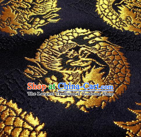 Asian Traditional Baldachin Classical Round Dragons Pattern Black Brocade Fabric Japanese Kimono Tapestry Satin Silk Material