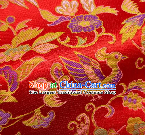 Asian Traditional Baldachin Classical Phoenix Pattern Red Brocade Fabric Japanese Kimono Tapestry Satin Silk Material