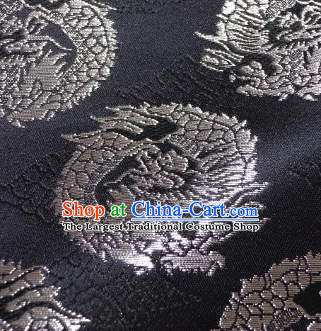Asian Traditional Baldachin Classical Dragons Pattern Black Brocade Fabric Japanese Kimono Tapestry Satin Silk Material