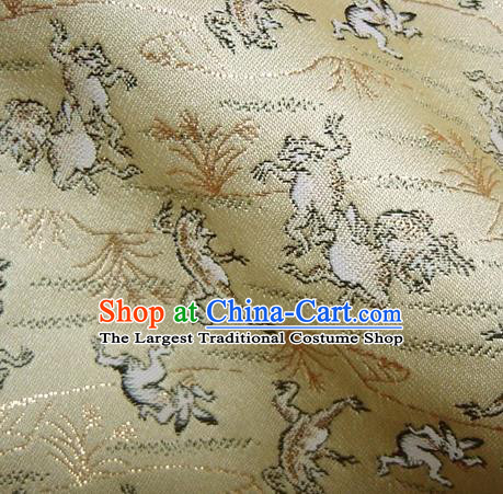 Asian Traditional Baldachin Classical Beast Pattern Golden Brocade Fabric Japanese Kimono Tapestry Satin Silk Material