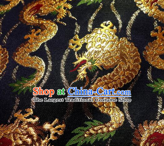 Asian Traditional Baldachin Classical Golden Dragons Pattern Brocade Fabric Japanese Kimono Tapestry Satin Silk Material