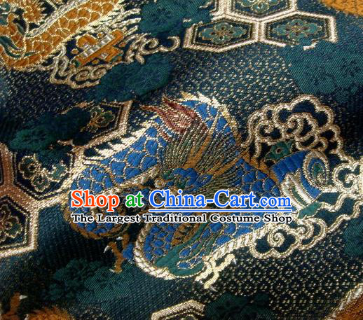 Asian Traditional Baldachin Classical Dragon Pattern Atrovirens Brocade Fabric Japanese Kimono Tapestry Satin Silk Material