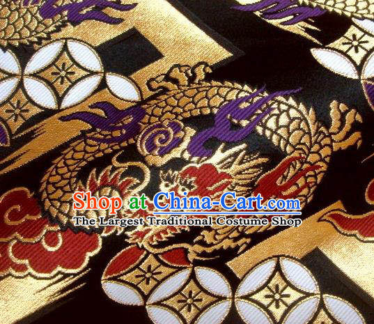 Asian Traditional Baldachin Classical Fire Dragon Pattern Black Brocade Fabric Japanese Kimono Tapestry Satin Silk Material