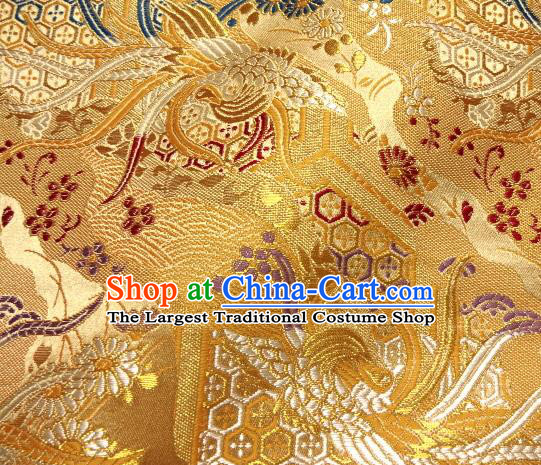 Asian Japanese Traditional Brocade Classical Colorful Phoenix Pattern Golden Baldachin Fabric Kimono Tapestry Satin Silk Material