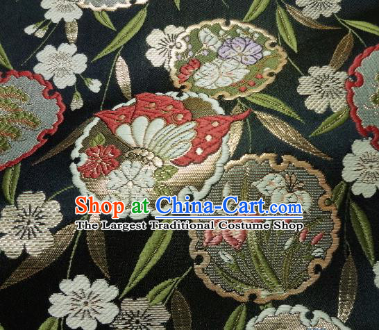 Asian Japanese Traditional Brocade Classical Bamboo Leaf Pattern Black Baldachin Fabric Kimono Tapestry Satin Silk Material