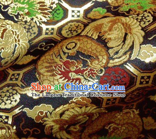 Asian Traditional Baldachin Classical Dragon Phoenix Pattern Black Brocade Fabric Japanese Kimono Tapestry Satin Silk Material