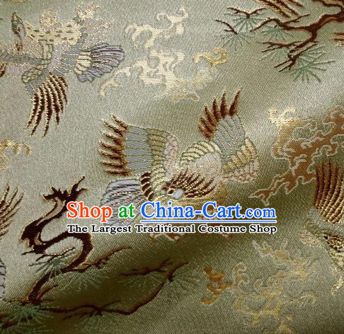 Asian Traditional Japanese Kimono Classical Eagle Pattern Green Tapestry Satin Brocade Fabric Baldachin Silk Material