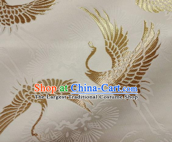 Asian Traditional Japanese Kimono Classical Golden Cranes Pattern Tapestry Satin Brocade Fabric Baldachin Silk Material