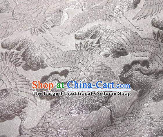 Asian Traditional Japanese Kimono Classical Cranes Pattern White Brocade Tapestry Satin Fabric Baldachin Silk Material