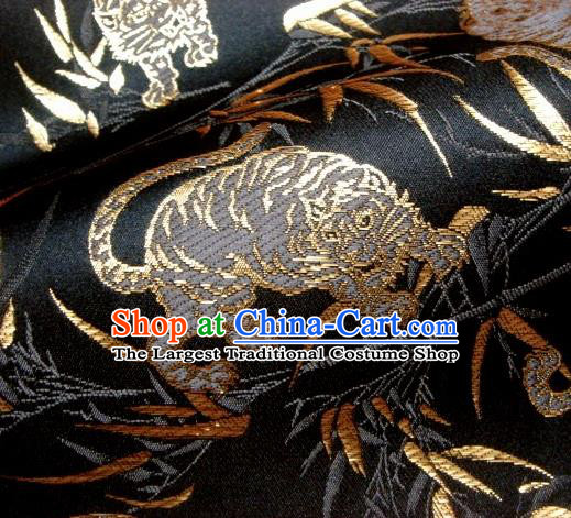Asian Traditional Japanese Kimono Classical Tiger Pattern Black Brocade Tapestry Satin Fabric Baldachin Silk Material
