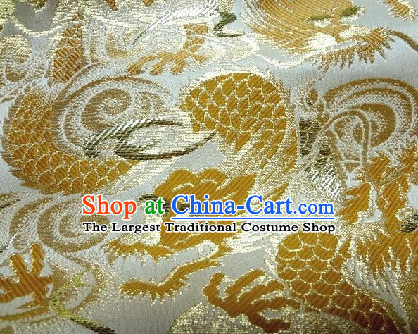 Asian Japanese Traditional White Brocade Fabric Classical Golden Dragons Pattern Baldachin Kimono Tapestry Satin Silk Material