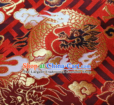 Asian Japanese Traditional Red Baldachin Classical Cloud Dragon Pattern Brocade Fabric Kimono Tapestry Satin Silk Material