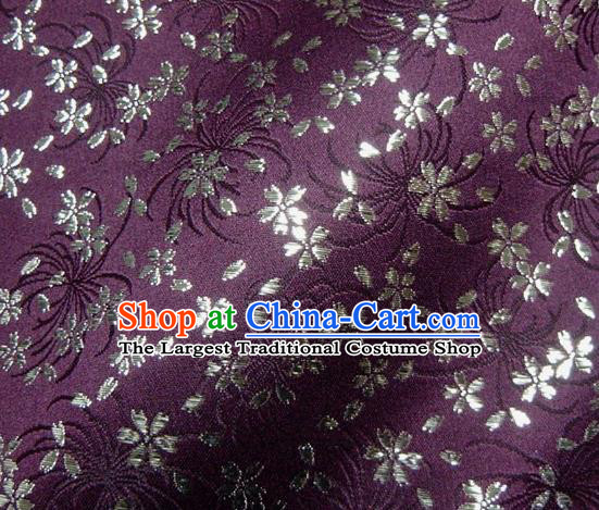Asian Japanese Traditional Kimono Purple Tapestry Satin Classical Chrysanthemum Pattern Brocade Fabric Baldachin Silk Material