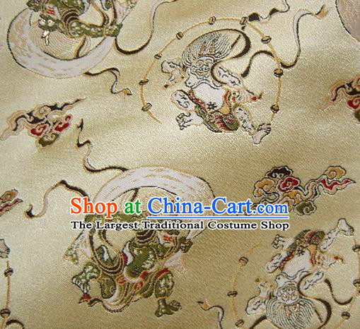Asian Japanese Traditional Baldachin Classical Thunder God Pattern Golden Brocade Fabric Kimono Tapestry Satin Silk Material